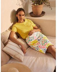 Boden Gabriella Pencil Skirt , Tropical Charm - White