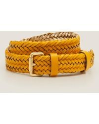 Boden Woven Leather Belt - Yellow