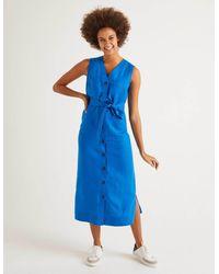 Boden Catriona Linen Dress Bold - Blue