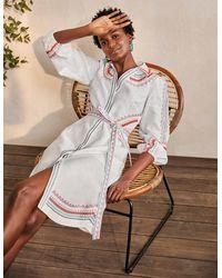 Boden Zoe Embroidered Linen Dress - White