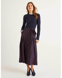 Boden Lennox Button Skirt Maroon, Zebra Spot - Brown