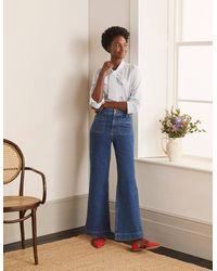 Boden Patch Pocket Wide Leg Jeans Mid Vintage , Mid Vintage - Blue