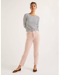 Boden Button Fly Straight Jeans Pink - White