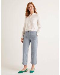 Boden Wide Leg Crop Jeans Ticking Stripe - Blue