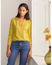 Boden Le T-shirt à col cranté en coton - Jaune