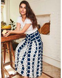 Boden Philippa Midi Skirt Ivory And Spot Mix - Blue