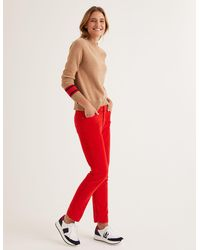 Boden Cord Slim Straight Jeans Post Box Red