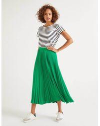 Boden Kristen Pleated Skirt Rich Emerald - Green