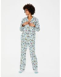 Boden Cozy Woven Pajama Ice Gray London Scene - Blue