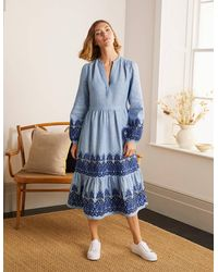 Boden Eden Embroidered Linen Dress Grey Chambray , Grey Chambray - Blue