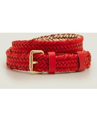 Boden Woven Buckle Belt Post Box - Red