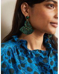 Boden Boucles d'oreilles ornementées à franges - Vert