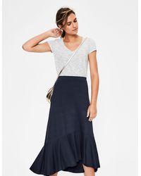 Boden Fluted Hem Jersey Skirt - Blue