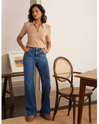 Boden Relaxed Wide Leg Jean Mid Vintage , Mid Vintage - Blue