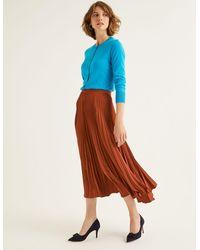 Boden Kristen Pleated Skirt Conker - Brown