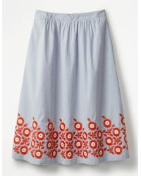 Boden Haidee Embroidered Skirt - Blue
