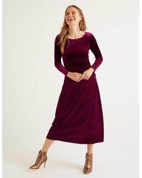 Boden Lois Velvet Dress Beetroot - Purple