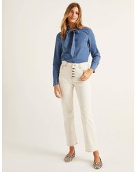 Boden Button Fly Straight Jeans Ivory - Natural