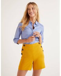 Boden Falmouth Linen Shorts - Yellow