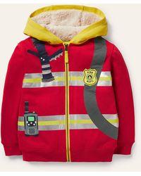 Boden shaggy-lined Appliqué Hoodie Rockabilly Fireman , Rockabilly Fireman - Red