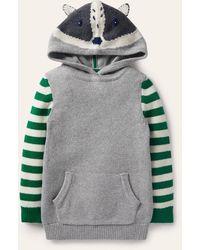 Boden Woodland Knitted Hoodie Marl Badger , Marl Badger - Grey