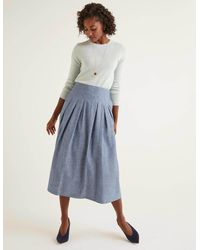 Boden Theodora Pleated Skirt Chambray - Blue