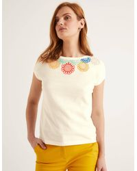 Boden Elgin Embroidered Knitted Tee - White