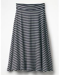 Boden Jersey Midi Skirt /ivory Stripe - Blue