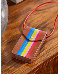 Boden Crossbody Phone Bag Tan Multi Stripe Christmas , Tan Multi Stripe - Blue