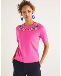 Boden Gowrie Embellished Tee Pink