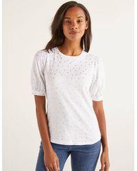 Boden Zoe Gathered Sleeve Jersey Tee White - Metallic