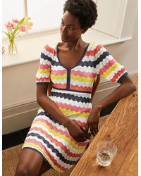 Boden Margie Knitted Dress Surf And Party Pink Stripe