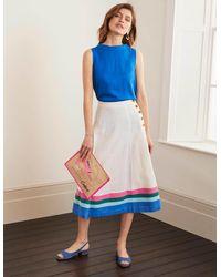 Boden Willa Button Midi Skirt /bold Blue Stripe - White