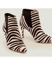 Boden Elsworth Ankle Boots Zebra - Black
