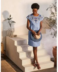 Boden Fleur Embroidered Linen Dress Grey Chambray - Blue