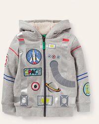 Boden shaggy-lined Appliqué Hoodie Marl Astronaut , Marl Astronaut - Grey