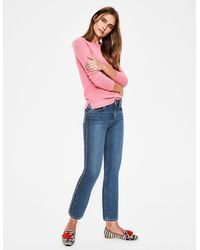 Boden Cambridge Embroidered Jeans Rainbow Stitch - Blue
