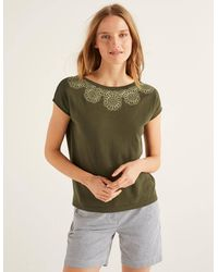 Boden Elgin Embroidered Knitted Tee - Green