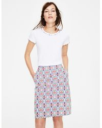 Boden Printed Cotton A-line Skirt - White