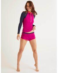 Boden Piping Swim Shorts Polished Berry Colourblock - Purple