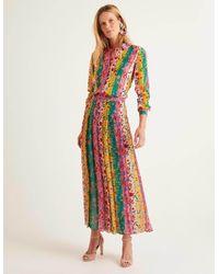 Boden Bathsheba Pleated Midi Skirt Bright Camellia, Garden Charm - Pink