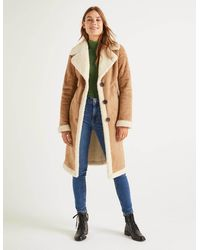 Boden Bell Teddy Lined Coat - Natural