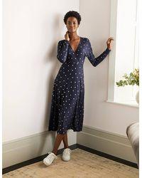 Boden Gemma Jersey Dress Navy, Foil Spot - Metallic