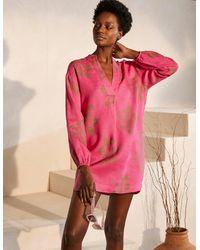 Boden Hannah Linen Shirt Party , Jungle Bouquet - Pink