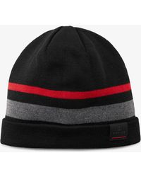Bogner - Toska Knitted Hat In Black/gray/red - Lyst