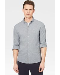 Bogner Franz Piqué Shirt In Light Grey - Gray