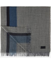 Bogner - Scarf In Grey/navy Blue - Lyst