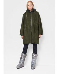 Bogner Lynn Lambskin Leather Coat In Dark Green