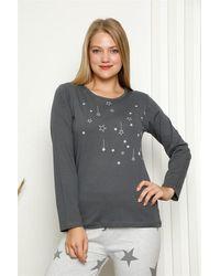 Bold Long Sleeves Combed Cotton Pyjama Set - Grey