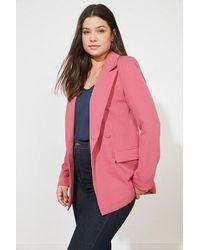 Bold Button Fuchsia Blazer Jacket - Pink